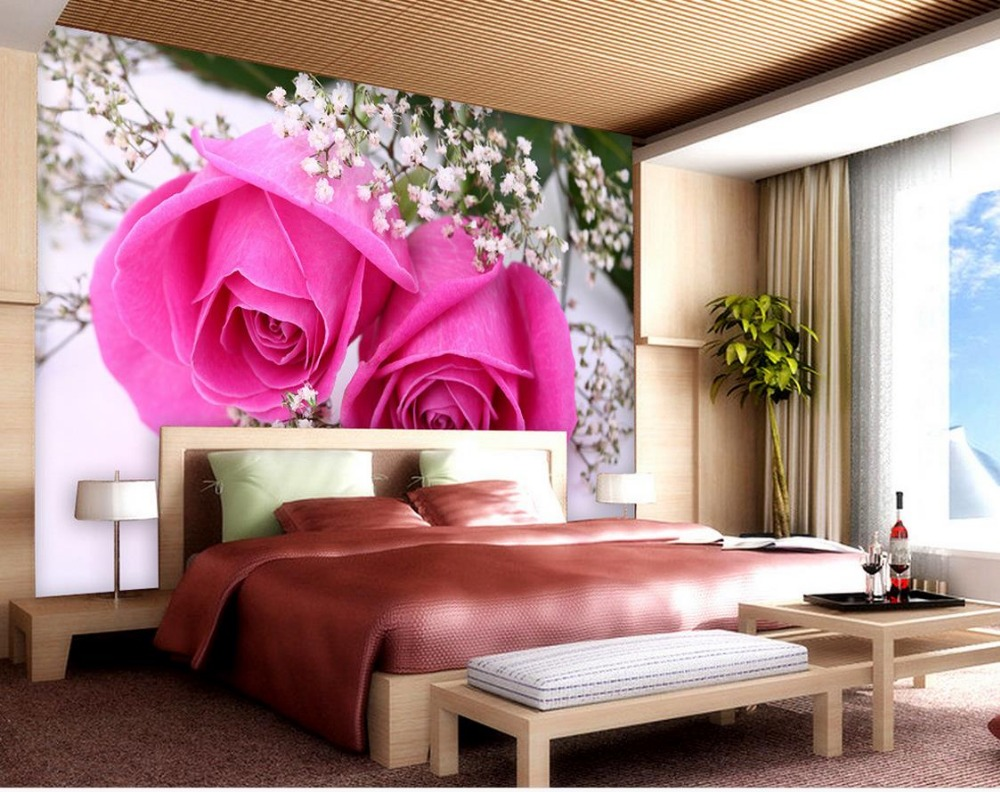 compare prices on pink rose wallpapers online shopping. Black Bedroom Furniture Sets. Home Design Ideas