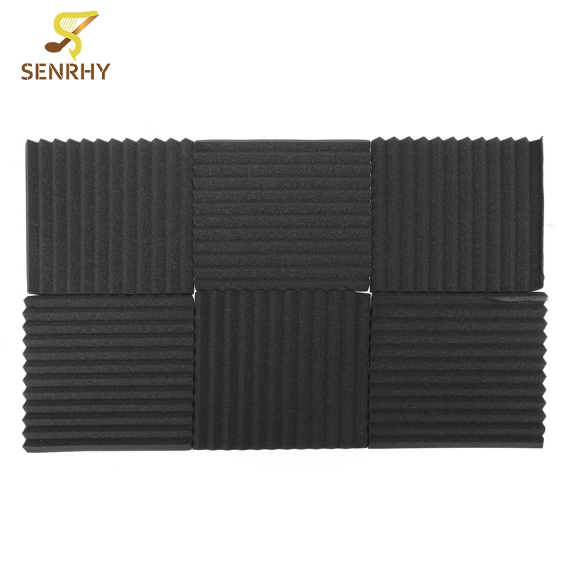 12pcs 12x12x1 Inch Drum Room Accessories Acoustic Foam Treatment Sound Proofing Tiles Wall Panels Drums Percussion Instruments