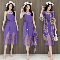 New 2018 women's summer two pieces floral printed chiffon cardigan elegant ladies lace dress twin sets cardigan outwear
