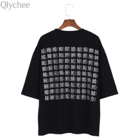 Qlychee Back Word Print T Shirt Women Summer Fashion Hiphop Loose O Neck Short Sleeve Tops