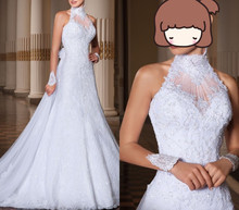 Custom Made vestido de noiva 2014 A-Line High Neck Lace Wedding Dress casamento Bridal Gown