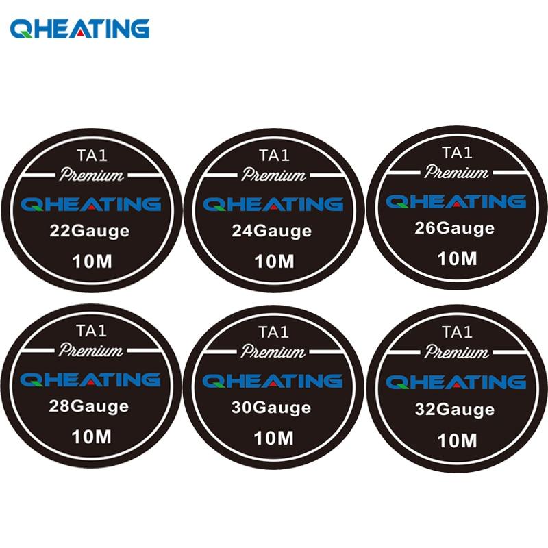 Qheating Authentic Titanium Wire 22ga 24ga 26ga 28ga 30ga 32ga 10m/roll  TA1 Wire For Ecigarette Vaping Builds