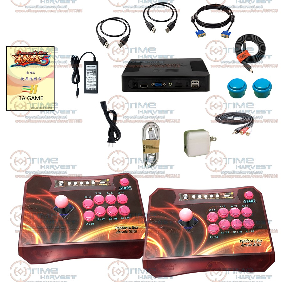 Arcade Controller Set with 960 in 1 Games Pandora Box 5 Wireless 2 Players Arcade Fighting Stick for XBOX360 PS3 PC Game Console non slip colloidal particles rocker cap set for xbox360 wireless controller
