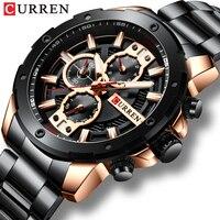 Curren Men Watch 2019 Top Brand Luxury Business Black Men's Wrist Watch Chronograph Man Watch 2018 Relogio Masculino