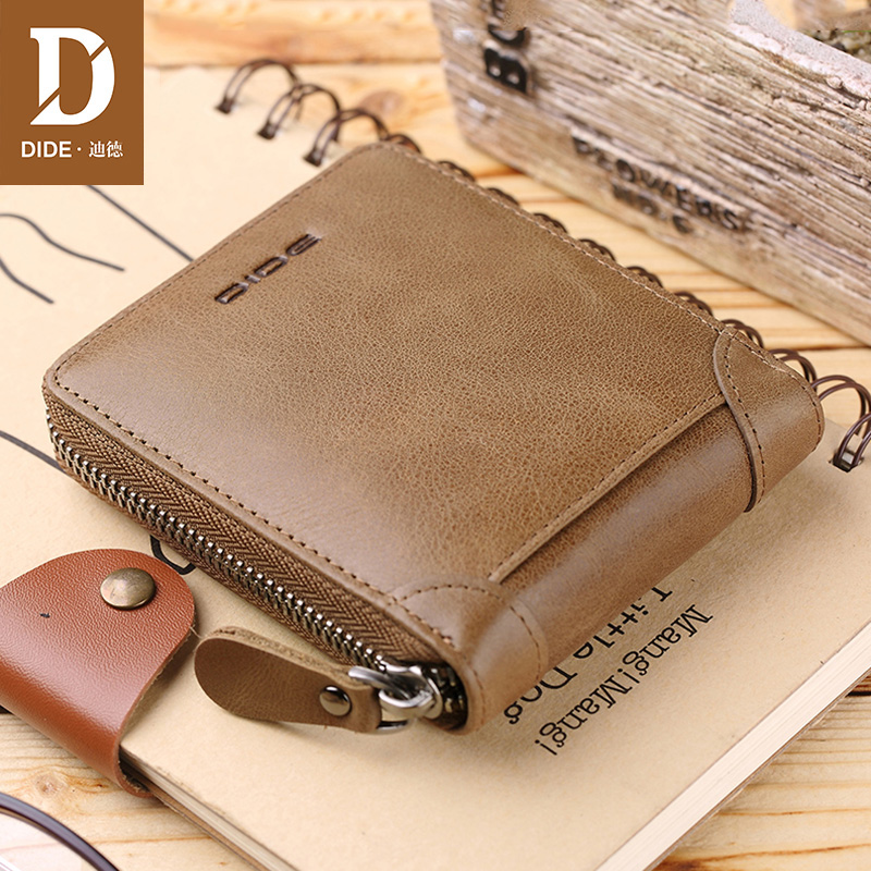 DIDE 2018 Fashion Men's Wallets Vintage Genuine Leather Wallet Zipper Coin Purse Credit ID Card Holder Khaki Short Wallet men недорго, оригинальная цена
