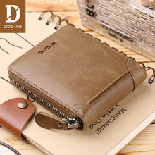 DIDE 2018 Fashion Men's Wallets Vintage Genuine Leather Wallet Zipper Coin Purse Credit ID Card Holder Khaki Short Wallet men цена в Москве и Питере