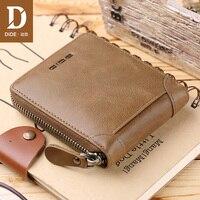 DIDE 2018 Fashion Men's Wallets Vintage Genuine Leather Wallet Zipper Coin Purse Credit ID Card Holder Khaki Short Wallet men