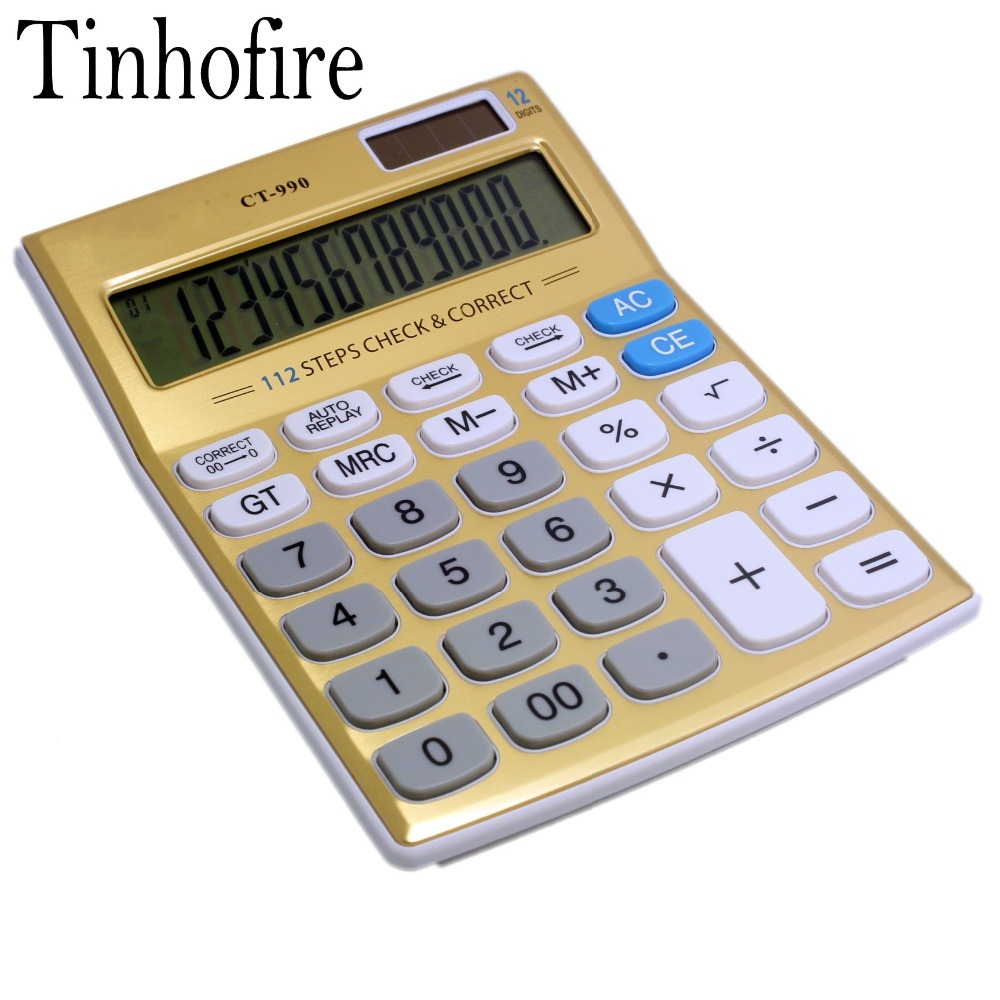 Tinhofire Gold 12 Digits Office Calculator Computer Solar Ct 990 Size 18 7 X 13 7cm In Calculators From On Aliexpress