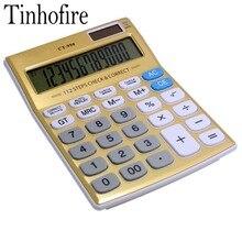 CT-990 Tinhofire Золото 12 цифр Office калькулятор компьютер Солнечный Калькулятор Размер 18.7×13.7 см