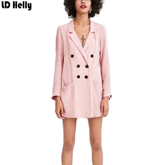 LD Helly Women Office Pint Blazers Jacket Pockets Double Breasted Notched Collar Ladies Casual Brand Outwear Top Casaco Feminine