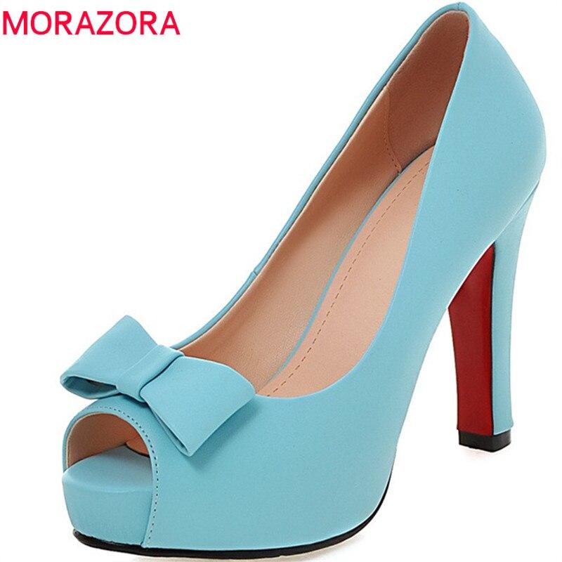 где купить MORAZORA 2018 fashion spring autumn shoes woman peep toe shallow elegant pumps women shoes high heels shoes big size 34-43 по лучшей цене