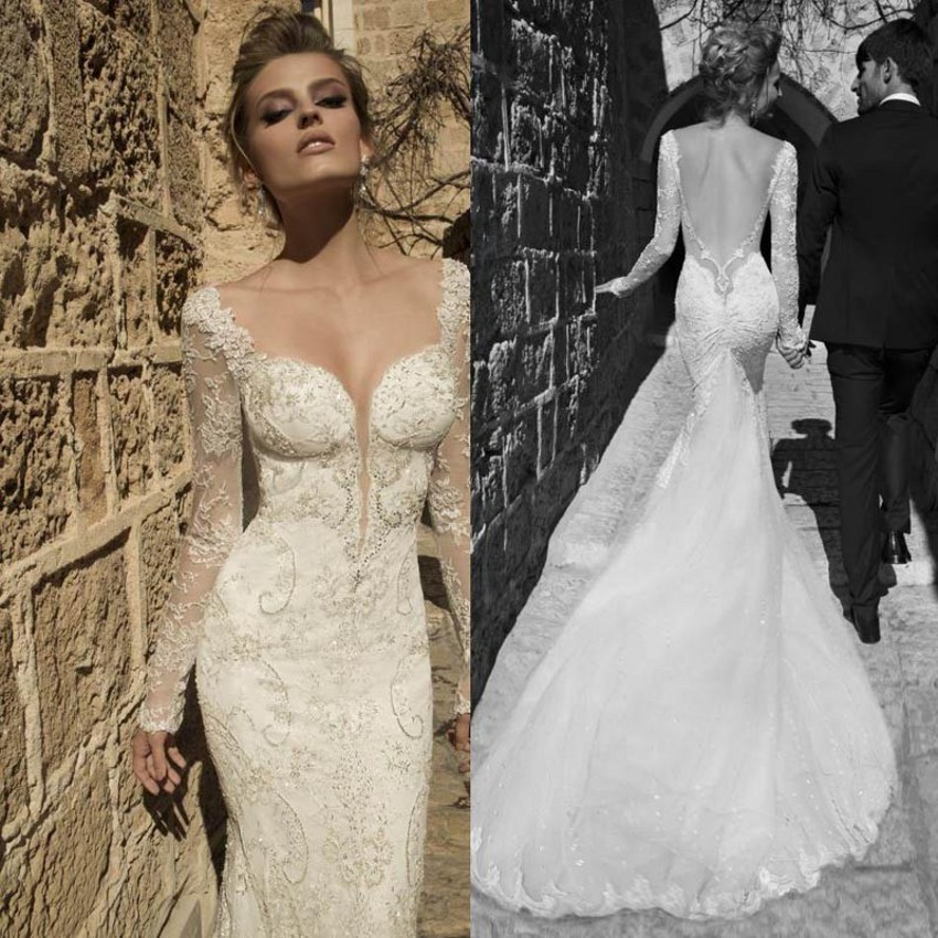 Vintage Sexy Backless Long Sleeve Mermaid Wedding Dress 2016 Sheath Long  Sleeve Custom Made Sweetheart Wedding Dress Appliques in Wedding Dresses  from  Vintage Sexy Backless Long Sleeve Mermaid Wedding Dress 2016  . Long Sleeve Backless Wedding Dresses. Home Design Ideas