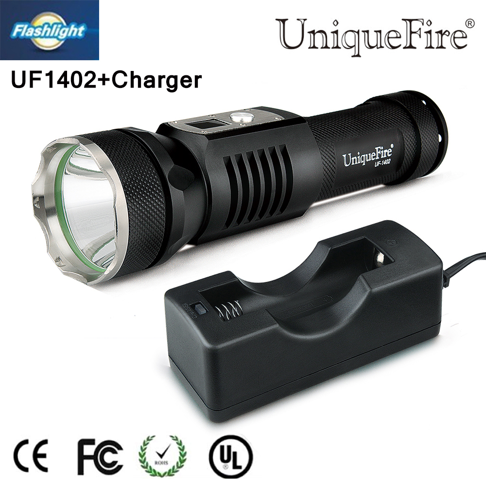 ФОТО 2016New Year gift UF1402 XM-L2 LED Mini Flashlight 5Mode 1200 Lumen Torch+Charger Waterproof For Camping Hiking Free shipping