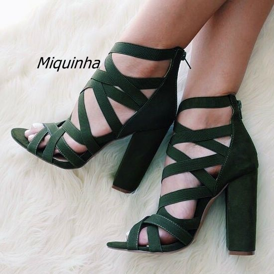 Comfy Bandage Open Toe Block Heel Sandals Women Pretty Dark Green Cut-out Chunky  Heel Shoes Classic Back Zip Dress Shoes