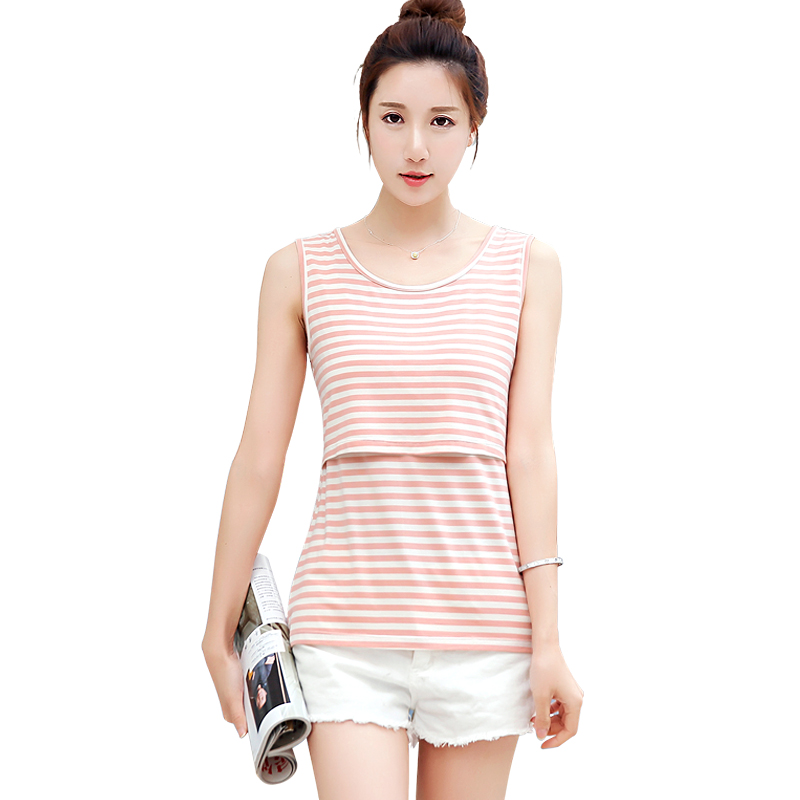 2018 spring casual pregnancy shirts breastfeeding nursing top striped cami tank maternity clothes for pregnant women soft cotton