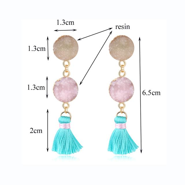 Oval Tassels Earings