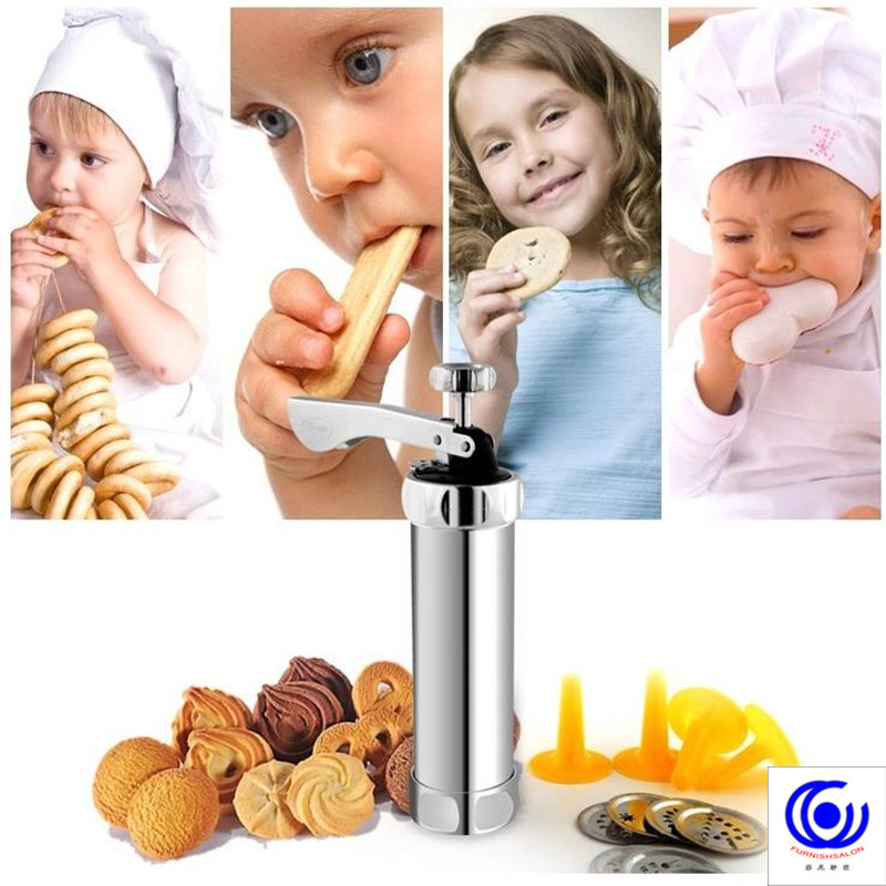 biscuit bakery die cookie cake extruding machine stainless steel pancake cream pastry gun with 20 praragraphs and 4 nozzles in Bakeware Sets from Home Garden