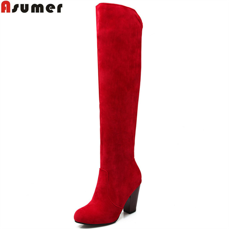 Asumer fashion new arrive women boots black red gray blue solid color over the knee boots slip on autumn winter ladies boots газонокосилка gardena powermax 1600 37