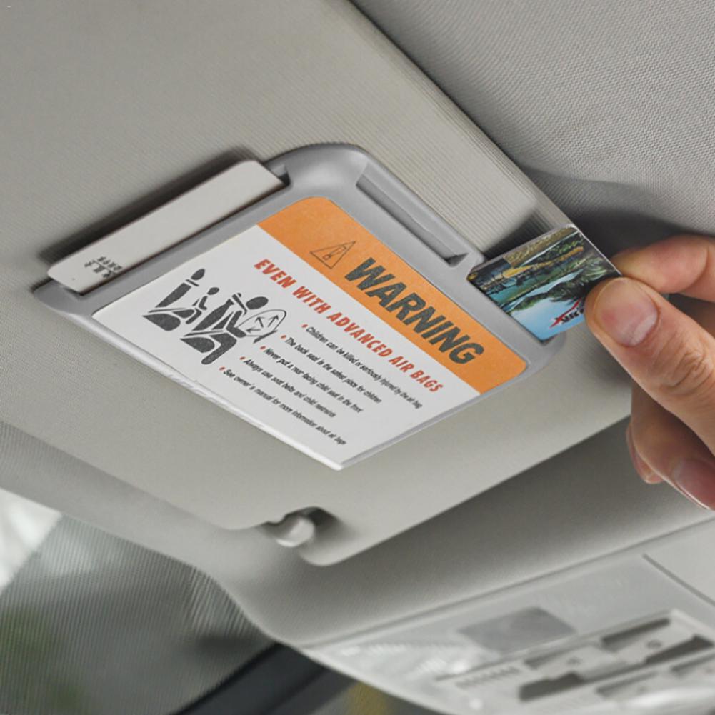 Car Sun Visor Sun Glasses Sunglasses Clip Credit Card Pen Holder Multifunctional Auto Storage Bag Business ID Fastener