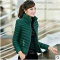 2017 abrigo de invierno mujeres abajo chaqueta de cuello de pie slim fit mujer chaquetas mujer corta chaqueta de invierno casual rayas clothing we619