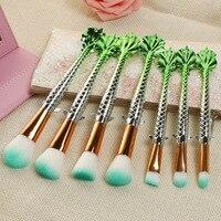 7PCS Fish Tail Fish Scale Makeup Brush Suit Tools Foundation Mermaid Makeup Brush Lucky Fish Makeup
