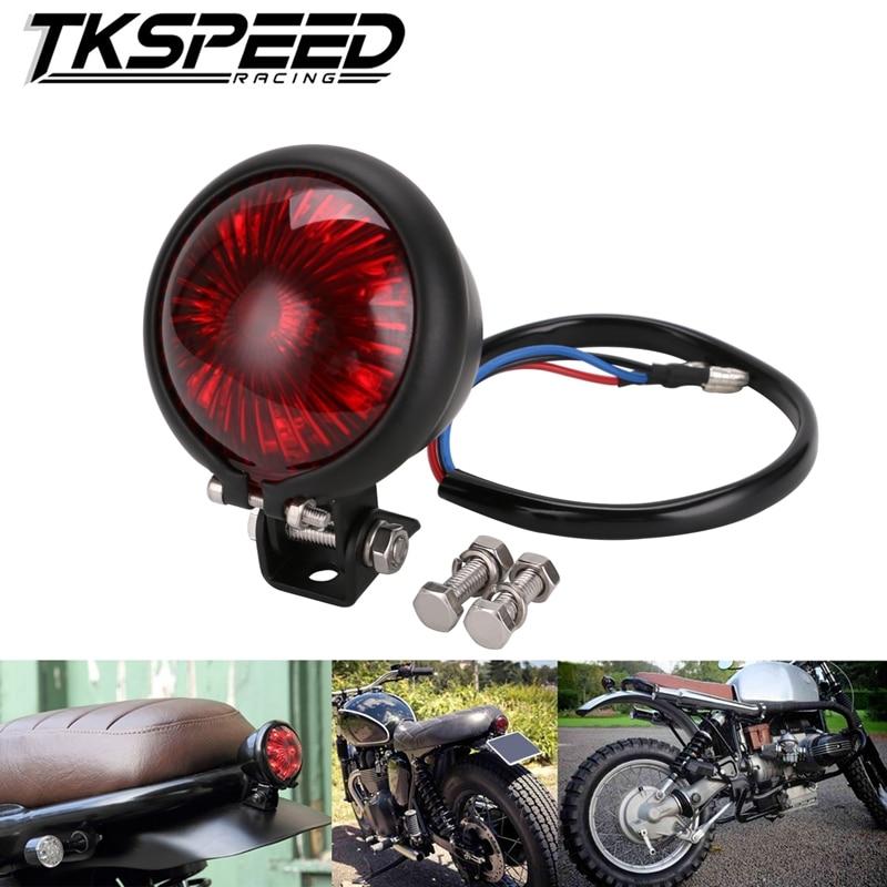 12V LED Black Adjustable Cafe Racer Style Stop Tail Light Motorcycles Motorbike Brake Rear Lamp Taillight For Chopper Bobber