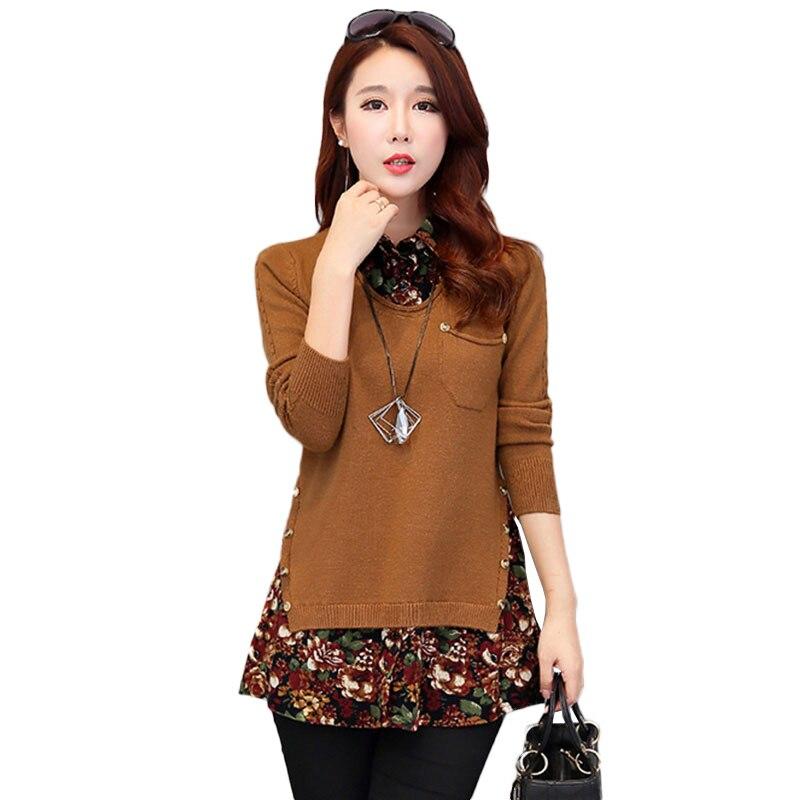 Grande taille Blouse mode femmes Blouses chemise 2019 printemps nouveau mousseline de soie lâche à manches longues fleur impression chemises dames NW1878