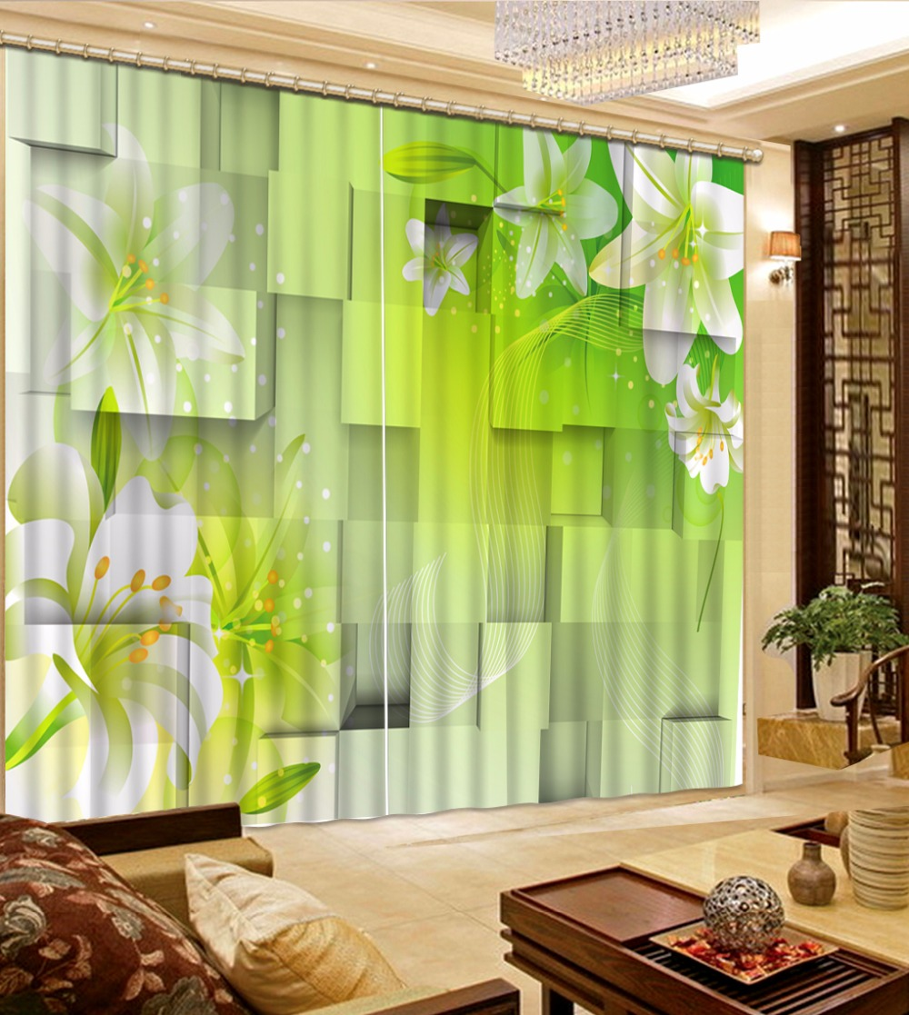 3D Curtain New Custom 3D Beautiful Plaid Green Flower For ... on Beautiful Bedroom Curtains  id=62115