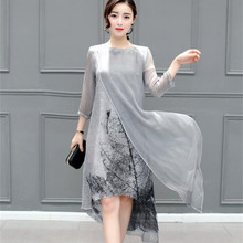 2018 Women Printing Dress Spring Fashion Long vestidos Good Quality Female Casual Summer O-neck Party Dresses Plus Size S-4XL