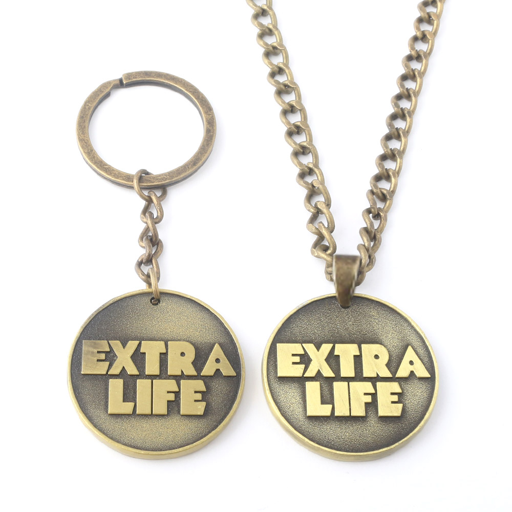 Wholesale Game Ready Player One EXTRA LIFE Coin Keychain Antique Bronze Bitcoin Key Chain Necklace Souvenir Jewelry Gift