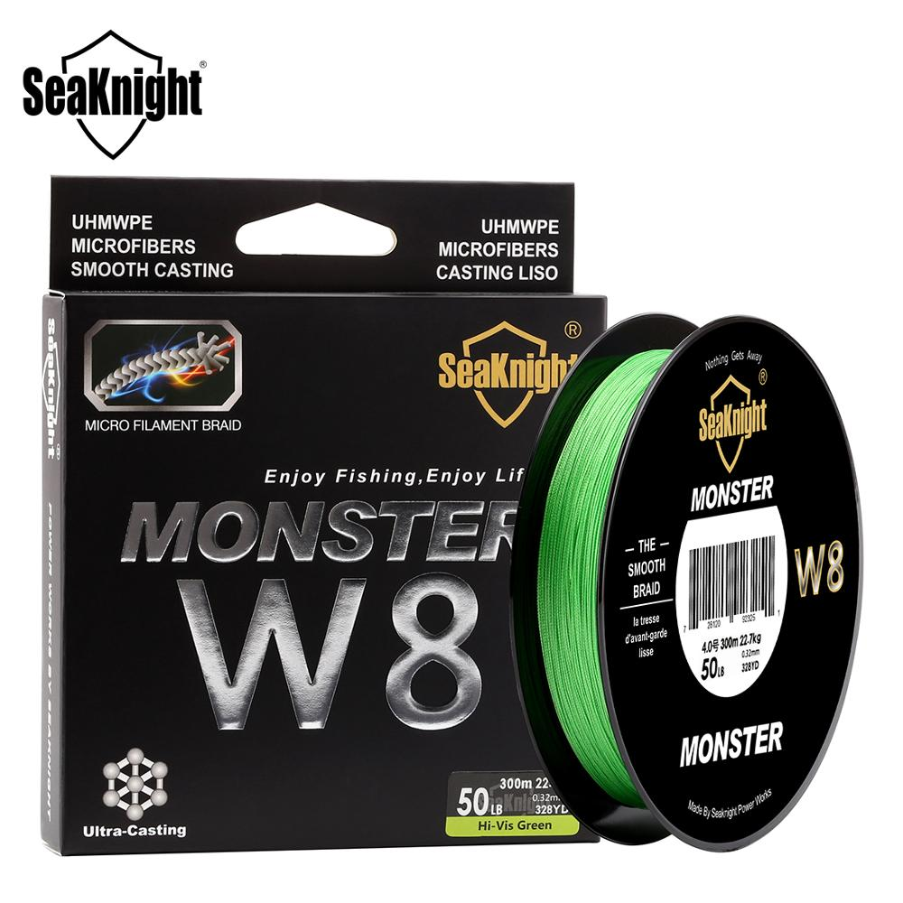 SeaKnight W8 Fishing Line 150M 300M 500M 8 Strands 0.16-0.50mm Strong Durable Braid PE Line 15 To 100LB For Saltwater Freshwater