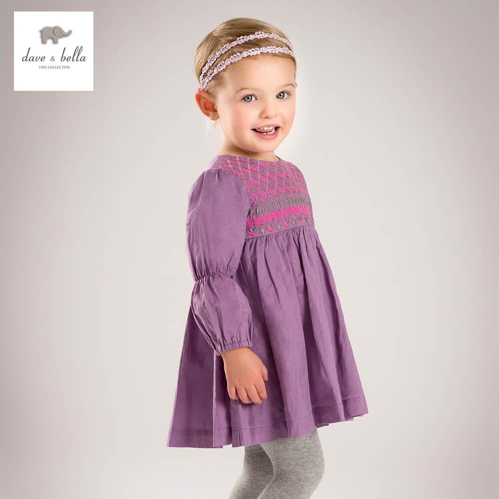 ФОТО DB4871 dave bella spring baby girls purple bohemia style dress stylish latest embroidery dress