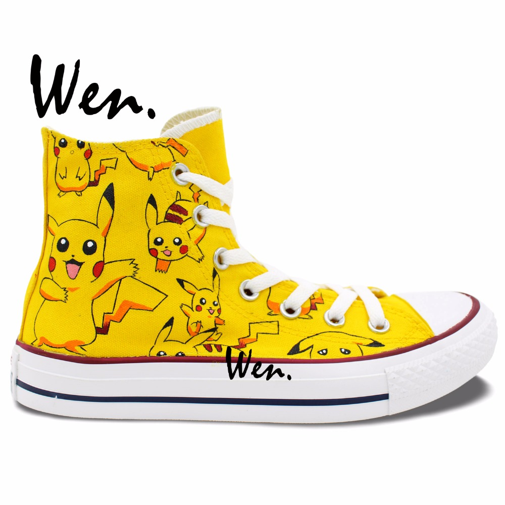 Wen Yellow Anime Hand Painted Sneakers Pokemon Pikachu Woman Man's High Top Canvas Shoes for Boys Girls Gifts anime shoes girls boys converse all star pokemon go dewgong sea lion design hand painted high top canvas sneakers men women
