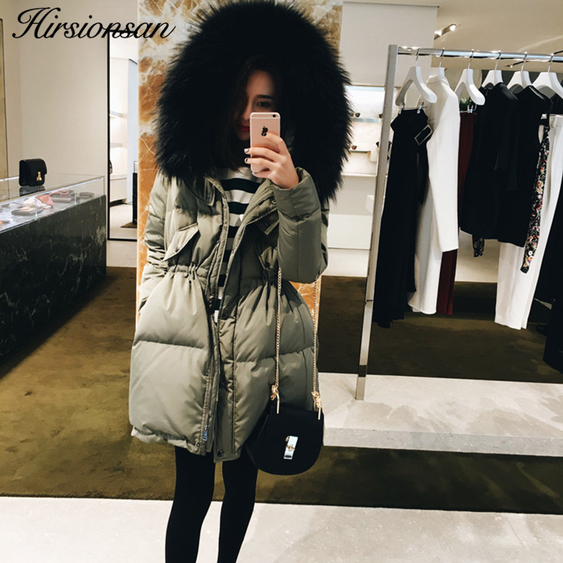 Hirsionsan Winter Jacket Women 2017 Korean Big Fur Collar Hooded Coat Long Cotton-padded Slim Outwears Female Thick Parkas big fur 2017 new fashion parkas winter jacket hooded fur collar warm cotton padded inside fur thick coat loose female outwears