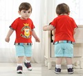 wholesale baby boutique clothing set spain kids roupa boys casual red cotton t shirt +shorts 4th of  july o-neck character sets