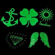 1piece Night Club Party 5models Fluorescent Luminous Flash Tattoo Sticker Waterproof Green Light Anchor Clover Sun Diamonds Wing