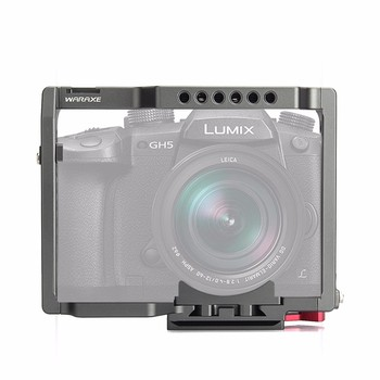 "WARAXE GH5 Camera Cage Built-in Quick Release Fits Arca Swiss for Panasonic GH5 GH4 with 1/4"" and 3/8"" Threaded Holes Cold Base"