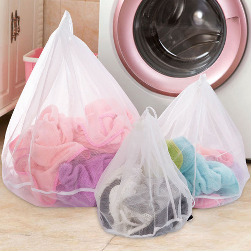Drawstring Mesh Laundry Wash Bags Foldable Delicates Lingerie Bra Socks Underwear Washing Machine Clothes Protection Net 3 Sizes