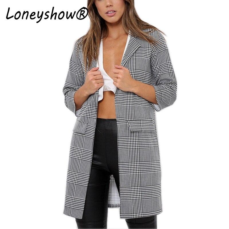 Loneyshow 2017 New Fashion Plaid Blazer Elegant Suit Women Office Lady Blazer Long Sleeve Slim Notched Design Coat Jackets