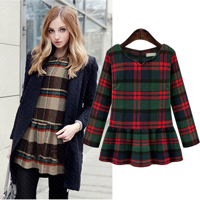 3d4f05bdf3a Dressy Ladies Winter Pleat Blouse Tops Long Sleeve Plus Size Plaid Tops For  Women XL 2XL 3XL 4XL 5XL