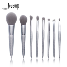 Jessup New 8 pcs Shining Party Silver brush foundation brushes Synthetic hair Powder Blusher Eyeshadow brush Makeup brush set