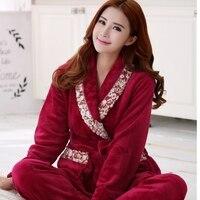2016 New Autumn Winter Pajamas Flannel 3 Colors Night Gown Set Women Warm Soft Coat