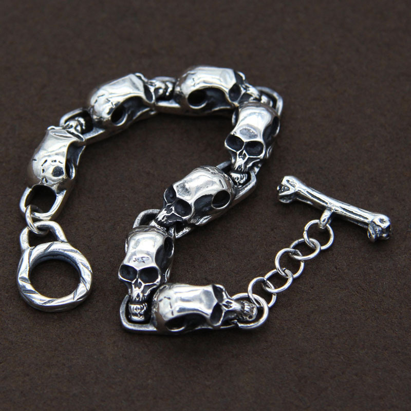 S925 Sterling Silver Thai Silver Retro Skull Bamboo Male And Female Fashion BraceletsS925 Sterling Silver Thai Silver Retro Skull Bamboo Male And Female Fashion Bracelets