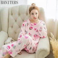 Banitersは新しい高品位フランネルパジャマセット素敵な女の子ネグリジェセクシーな女性パジャマ冬暖かい快適な寝間