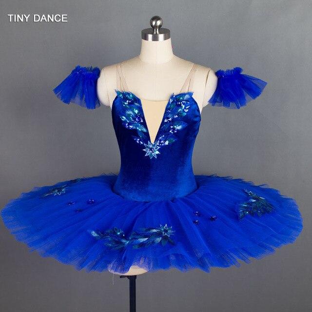 Tulle rigide bleu Royal, 7 couches de Costumes de danse classique, robe Tutu en crêpe, pour le Ballet professionnel BLL027