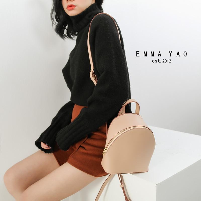 EMMA YAO women backpack mini leather bag korean style brand fashion backpack