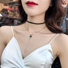 Korea black sexy clavicle chain simple short style necklace short money circle neck band neck jewelry neck chain A-0243