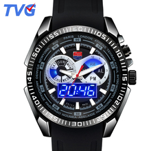 2017 Male Watches Luxury Top Brand TVG New Black Silicone Best designer Men Quartz Watch Dual Display LED Wristwatches relojes
