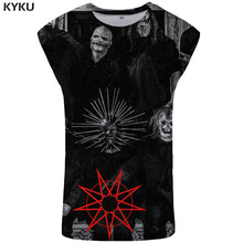 KYKU Band Tank Top Men Character Ftness Clothing Black Singlet Cosplay Vest Geometric Stringer Sleeveless Shirt Man Funny Casual