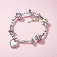 100% 925 серебряный ключ к моему сердцу Браслет Подарочный Набор Fit DIY оригинальные украшения 925 пробы серебро женщина Браслеты браслет для для